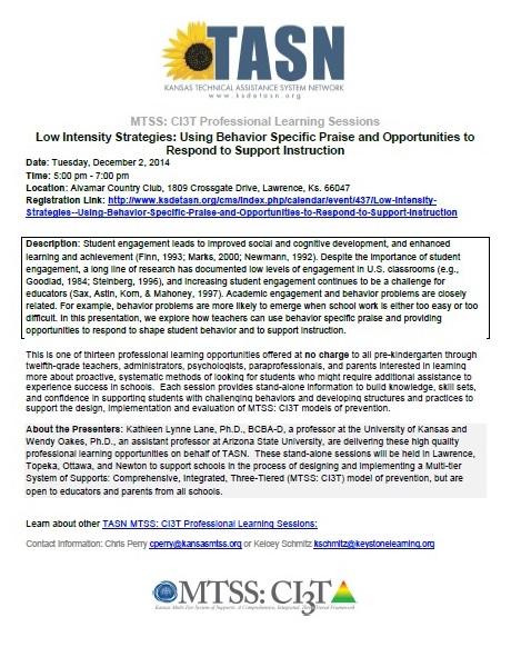 TASN -Low Intensity Strategies