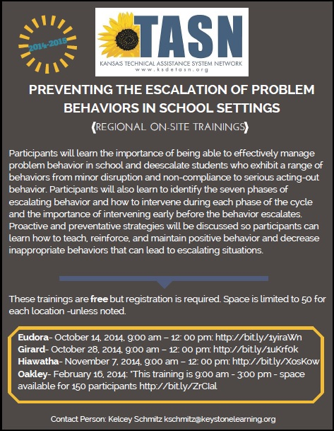 TASN - Preventing the Escalation of Problem Behaviors in School Settings
